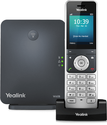 The Yealink W60P cordless phone solution is ideal for users that need in-office mobility. Ideal for small business that need plug and play wireless technology.